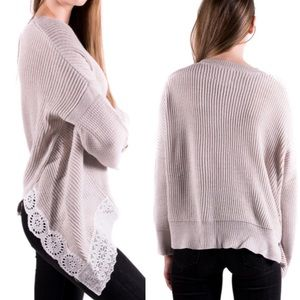 Anthropologie Asymmetric Hem Knit Pullover Lace S